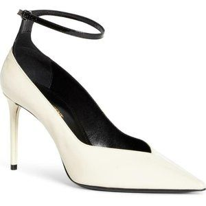 Saint Laurent White Zoe Ankle Strap Pointed Toe